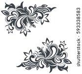 vintage corner floral design... | Shutterstock .eps vector #593338583
