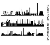 silhouettes industrial plants.... | Shutterstock .eps vector #593345543