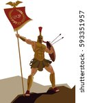 spartan warrior with armor and... | Shutterstock .eps vector #593351957