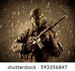 portrait of dangerous heavily... | Shutterstock . vector #593356847