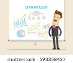businessman and graphs on... | Shutterstock .eps vector #593358437