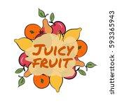 set of hand drawn color fruit... | Shutterstock .eps vector #593365943