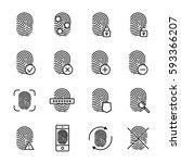 set of fingerprint in modern... | Shutterstock .eps vector #593366207