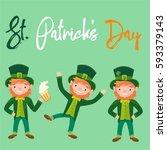 saint patrick's day. leprechaun. | Shutterstock .eps vector #593379143