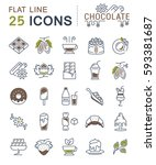 set  line icons in flat design... | Shutterstock . vector #593381687