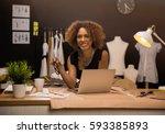 two young entrepreneur women ...   Shutterstock . vector #593385893