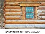 Weathered Log House Wall Window