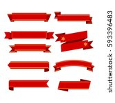 set of red ribbons on white... | Shutterstock .eps vector #593396483