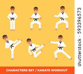set of karate boys characters... | Shutterstock .eps vector #593396573