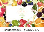 vector fruit and berry mix... | Shutterstock .eps vector #593399177