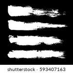 brush  chalk strokes. white ink ... | Shutterstock .eps vector #593407163