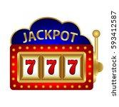 jackpot on a slot machine  | Shutterstock . vector #593412587