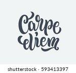carpe diem lettering text.... | Shutterstock .eps vector #593413397