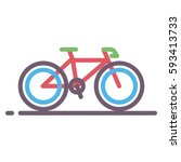 bike line style color icon or... | Shutterstock .eps vector #593413733