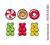 colorful hard candies and gummy ... | Shutterstock .eps vector #593419283