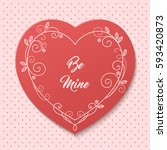 romantic greeting card with... | Shutterstock .eps vector #593420873