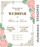 wedding invitation with flowers ... | Shutterstock .eps vector #593420933