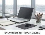 Sideview Of Office Desktop Wit...