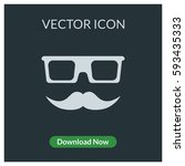 glass and mustache vector icon | Shutterstock .eps vector #593435333