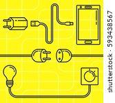 electric devices set. line art... | Shutterstock .eps vector #593438567