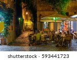 night view of old street in... | Shutterstock . vector #593441723