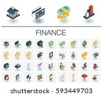 isometric flat icon set. 3d... | Shutterstock .eps vector #593449703