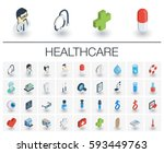 isometric flat icon set. 3d... | Shutterstock .eps vector #593449763
