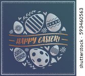 happy easter greeting card.... | Shutterstock .eps vector #593460563