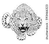 leopard face tattoo  vector... | Shutterstock .eps vector #593466323