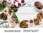 tasty grilled meals frame on... | Shutterstock . vector #593476247