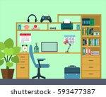 workplace of the school kid  ...   Shutterstock .eps vector #593477387