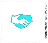 handshake outline vector icon... | Shutterstock .eps vector #593492417