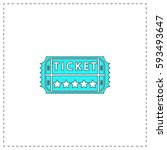 ticket outline vector icon with ...