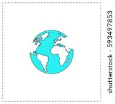 earth outline vector icon with... | Shutterstock .eps vector #593497853