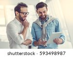 two handsome businessmen are... | Shutterstock . vector #593498987