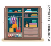 wardrobe for cloths. closet... | Shutterstock .eps vector #593501207
