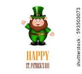 happy leprechaun waving hand.... | Shutterstock .eps vector #593503073