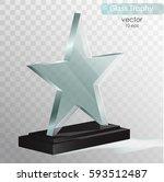 glass trophy award. vector... | Shutterstock .eps vector #593512487