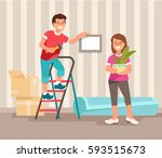 happy young family man and... | Shutterstock .eps vector #593515673