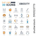 set  line icons in flat design... | Shutterstock . vector #593523773