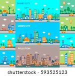 smart city  green city ... | Shutterstock .eps vector #593525123