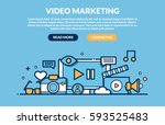 video marketing concept for web ... | Shutterstock .eps vector #593525483