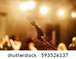 microphone on stage against a... | Shutterstock . vector #593526137