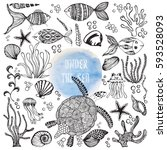 set of hand drawn sea dwellers. ... | Shutterstock .eps vector #593528093
