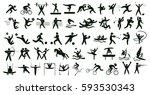 summer sports set on white. all ... | Shutterstock . vector #593530343