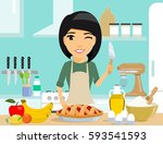 young girl housewife prepares a ... | Shutterstock .eps vector #593541593