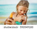 cute smiling little girl... | Shutterstock . vector #593549183