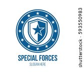 military star and shield theme... | Shutterstock .eps vector #593550983