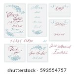 gentle wedding set. calligraphy ... | Shutterstock .eps vector #593554757