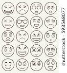 set of outline emoticons  emoji ...   Shutterstock .eps vector #593568077